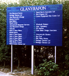 An industrial estate directory sign with easy to change company name panels