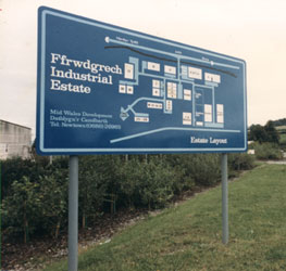 A factory unit location map sign in spray painted aluminium at Ffrwdgrech industrial estate in Brecon, Wales