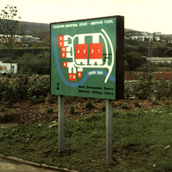 An early form of the monolith or solid looking estate sign in Merthyr Tydfil, Wales