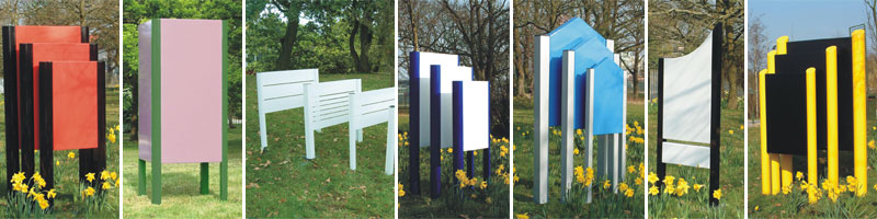Image shows some of many options available for estate signs for industry, commerce and parks