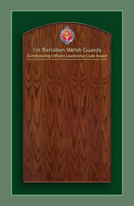 A framed oak award winners board made for the 1st Battalion of the Welsh Guards