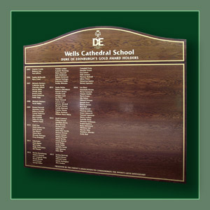 An honours board listing holders of the Duke of Edinburgh's Gold Award at Wells Cathedral School