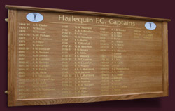 Famous names are displayed on this oak framed captains board ordered by the Harlequin Rugby Football Club in Twickenham