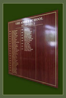 The names of school head girls at the Abbey School continued on this names board