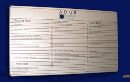 An internal office directory sign made from silver finished anodised aluminium