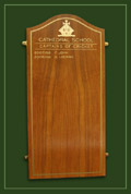 An honour board to recognise the captains of cricket at the Cathedral School in Llandaff, Cardiff, Wales