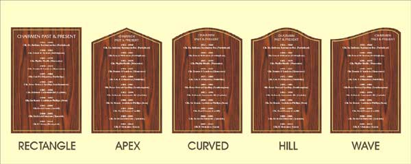 Honour Boards are available in any shape or size but this image shows the basic shapes available