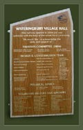 Wateringbury village hall commissioned two boards to acknowledge the help and support received from the public over many years